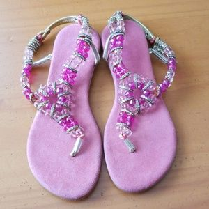 Shoes - PINK & GOLDEN Beaded Sandals